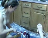 Skinny milf and tiny legal age teenager dark brown in food fetish scene