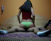 Sexy bootyful black haired Indian girlie rides ramrod after doggyfuck