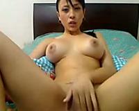 Asian astonishing hawt large breasted livecam brunette hair fingered her enchanting cookie