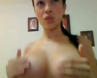 Asian astonishing hawt large breasted livecam brunette hair fingered her enchanting cookie