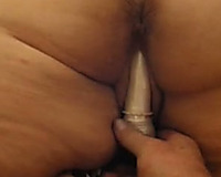 I stuff hairless slit of my seductive bulky hotwife with a fake penis
