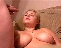 I want to cum on my large breasted auburn horny wifey in the living room