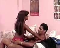 Eighteen year old princess sucks weenie and then rides it on daybed