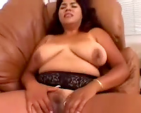 Brown skin exotic milf plays with a marital-device and vagina of her golden-haired ally