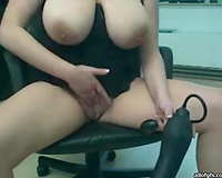 Kinky and immodest whore with large droopy mangos masturbates