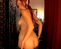 Wondrous red haired elf hottie flashed her tits during the time that dancing on cam