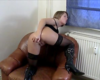 Torrid short haired dark brown mother I'd like to fuck in dark nylons was fucking anal opening with can