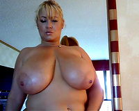 Oiled dilettante chunky white wife was bragging of her super saggy giant boobies