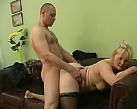Blonde obese aged blondie rides on a cock of a youthful stud