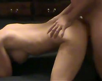 Dirty-minded large breasted auburn mother I'd like to fuck is drilled doggy during Male+Male+Female