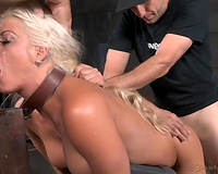 Belted breasty golden-haired with braids receives brutally screwed from behind