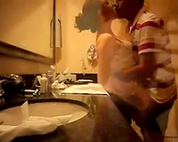 Aweome romantic quickie in the washroom of a legal age teenager pair