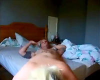 Wife with blonde hair enjoys engulfing my tattooed friend's lollicock