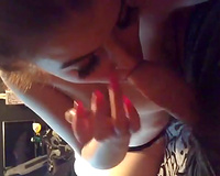 Brunette with consummate large boobies is fond of engulfing my buddy's prick