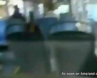 Awesome oral sex of hot and excited blond legal age teenager in the bus