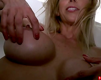 This blond mother I'd like to fuck has no problem stripping for me in front of the camera