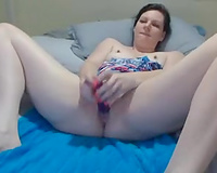 Skanky and lustful ex-wife masturbating with large dildo