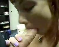 Redhead girlfriend of my buddy gives him astounding oral for facial