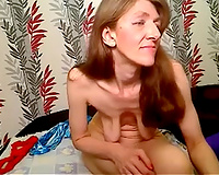 Red haired pale unattractive wench flashed me her saggy natural titties