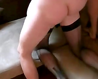 Blindfolded milf BBC slut blows my jock and teases me with her cookie