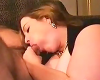 Chubby giant breasted dark brown fatso was jerking off and engulfing my shlong
