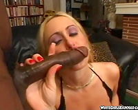 Amazing interracial sex with dark man and sexy blond white dirty slut wife