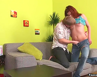 Naughty red head rides her chap in reverse cowgirl position