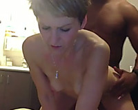 Short haired pale non-professional livecam mother I'd like to fuck is drilled by her dark hubby