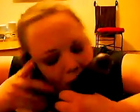Cheating wife sucking on my BBC with hubby on the phone