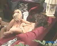 She got her constricted and soaked cum-hole tongue screwed by her girlfriend