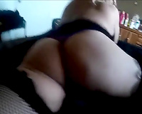 Lewd large bottomed crossdresser receives analfucked doggy and mish on the sofa