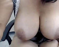 Kinky biggest breasted web camera nympho flashed her heavy knockers