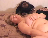 Busty dilettante blond big beautiful woman white lady masturbates on the bed