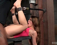 Gorgeous white black cock sluts handcuffed on the bench and pumped in the pussy