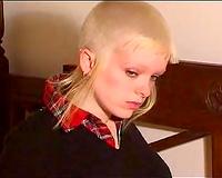 Punk blond girlfriend joyfully exposes her full figured body all nude