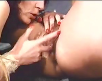 Kinky brunettes have enjoyment and golden-haired sucks the shlong