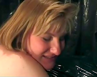 Mature redhead and golden-haired sweethearts squeeze a bottle of chocolate syrup