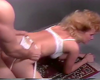 Lean blondie with white underware getting pounded in doggy style position