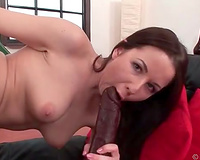 Extremely voracious dark brown in nylons likes teasing twat with toys