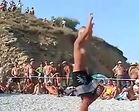 Nice in nature's garb dance party right on the beach with a sinful blond playgirl