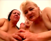 Chunky old white whores on the bed engulfing one ramrod jointly