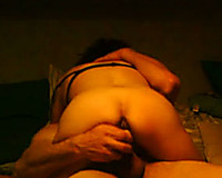 Heavy and thick cheating wife assists with a marital-device whilst riding my knob
