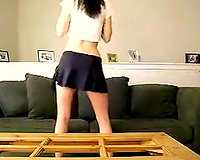 Skinny legal age teenager dancing seductively in solo clip