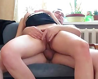 Blond haired naturally hot housewife was blowing my friend's rigid schlong
