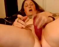 Super corpulent large breasted non-professional big beautiful woman bonks her rock hard twat with toy