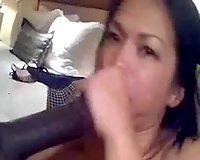 Asian dark brown was blowing my friend's unyielding BBC and got facial