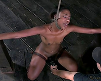 Dark skinned fastened up skinny nympho gives solid deepthroat oral pleasure