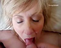 Sexy milf karen blow job and cumshot on face pov homemade porn