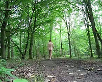 Walking around bare in the forest male amateur nude in public