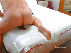 sissy floozy whore using a sex toy and warming up